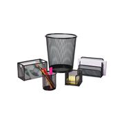 史泰博 17474 文具套裝(小垃圾桶,OE便條盒,三格信架,帶提手網方盒,中筆筒) 257*280mm 黑色