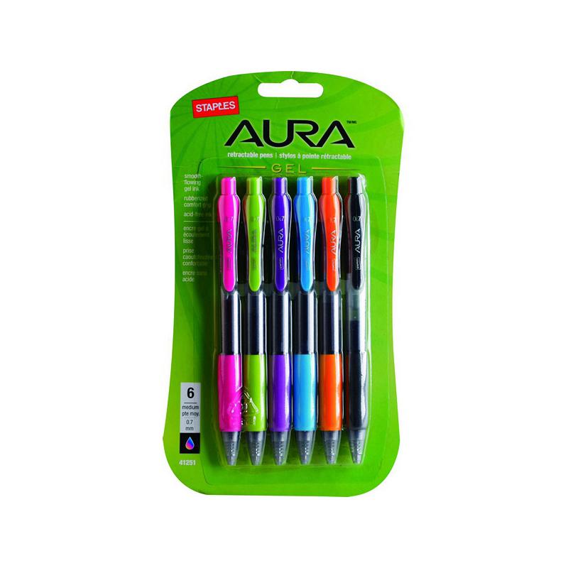 史泰博  AH854E 按动式中性笔6色套装 0.7mm  黑/天蓝/粉红/草绿/橙/紫色