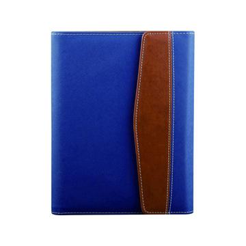 史泰博 三折磁性搭扣活页笔记本 25K,80页 蓝色和咖啡色拼接款