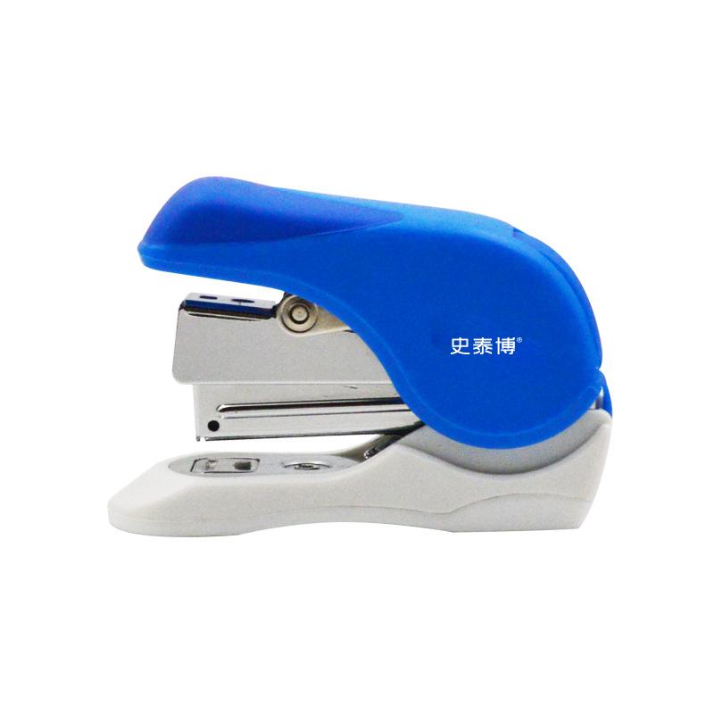 史泰博 5318 轻巧型省力订书机 适合10号针 蓝白色 1/24/96 省力订书机,使用10号针,订16张纸,塑胶上盖与底