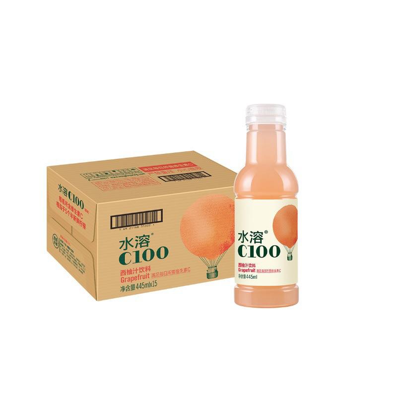 农夫山泉 水溶C100西柚味 445ml*15瓶/箱 整箱起售
