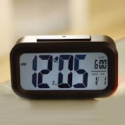 国产  夜灯感应聪明钟 13.5*7.5*4.5CM 黑色