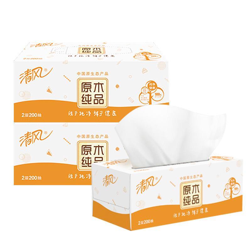 清風  B338C2/B338C3 原木純品系列2層200抽長幅盒裝面紙 3盒/提  12提/箱 (升級型號B338C2新老包裝隨機發貨)
