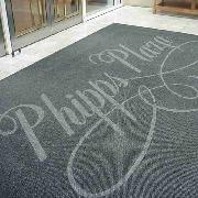 爱柯部落  欧特超厚除尘刮沙地毯垫-镶嵌中国移动LOGO地垫 100cm×200cm 深灰色 高人流区域地毯型地垫