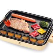 灿坤 2138PT 章鱼丸子煎烤器铁板烧分离式双烤盘烤牛排机  土黄色