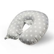 三極 TP1137 戶外旅行充氣護頸枕頭飛機靠枕護脖子辦公室午睡U型枕 水晶絨灰色星星 35*30*9.5cm