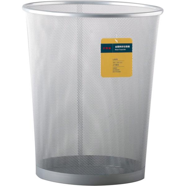 博明 L346S 圆形大号金属网状垃圾桶 银色 12个/箱