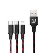 憶捷 EC003S Type-C/安卓/蘋果手機三合一快充數據線充電線  黑色