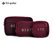 三極 TP1958 戶外旅行透氣網收納化妝洗漱泳裝零錢卡藥包 三件套 酒紅色
