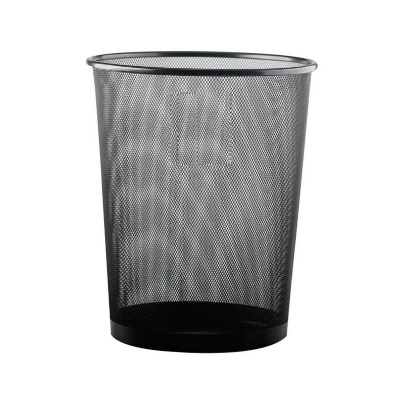 史泰博 L346B 圓形大號金屬網狀垃圾桶 29.5*35cm 黑色 12個/箱