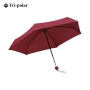 三极 TP7009 纯色五折伞迷你伞口袋雨伞 90*52cm 酒红色