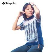 三极 TP6804 户外女士短袖条纹速干衣 XL   藏青色条纹