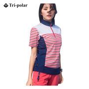 三极 TP6804 户外女士短袖条纹速干衣 S   红色条纹