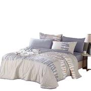 金丝莉 QSXMO 水洗棉套件被 被套*1床单*1枕套*2 蓝灰色