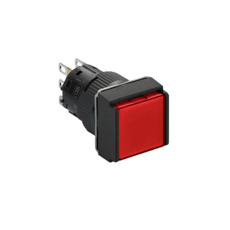施耐德電氣 XB6ECW4B1F 自復位帶燈按鈕 方形 紅色 24V 1NO/NC