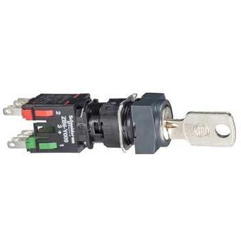 施耐德電氣 XB6CGC5B 方形按鈕 2 位 NO/NC 16 mm 鑰匙開關