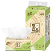 清風 BR46SCE1 抽紙 原木純品 2層150抽軟抽紙巾*4包 小規格 白色