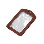 德維萊 DWL-571 雙面透明皮質工作證件套 11×7.5cm 棕色