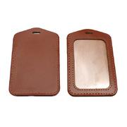 德维莱 DWL-572 单面透明皮质工作证件套 11×7.5cm 棕色
