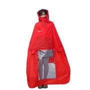 德維萊 DWL-319 透明大帽檐PVC防水凃層電動車騎行戶外加厚雨披  紅色