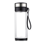 德维莱 DWL-788 双层手提玻璃水杯 280ML 透明色