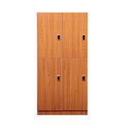理邦 木纹色防潮板内附层板及挂衣杆带电子锁 4门浴室柜 900*420*2000H 木纹色
