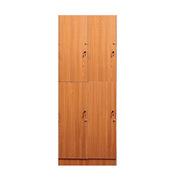 理邦 木紋色防潮板內附層板及掛衣桿帶普通鎖 4門浴室柜 900*420*2000H 木紋色