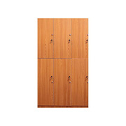 理邦 木纹色防潮板内附层板及挂衣杆带普通锁 6门浴室柜 900*420*2000H 木纹色