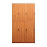 理邦 木紋色MFC板內附層板及掛衣桿帶普通鎖 6門浴室柜 900*420*2000H 木紋色
