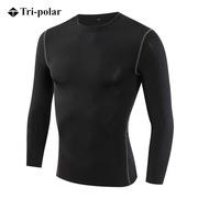 三极 TP8001 加绒男士健身长袖训练T恤 M 黑色