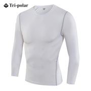 三极 TP8001 加绒男士健身长袖训练T恤 L 白色