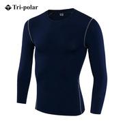 三極 TP8001 加絨男士健身長袖訓練T恤 L 深藍色