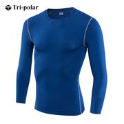 三極 TP8001 加絨男士健身長袖訓練T恤 L 藍色