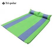 三极 TP1125 双人自动充气垫 5cm厚   绿灰拼户外防潮垫双人加厚帐篷垫睡垫