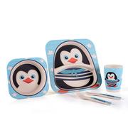 卓理 BF01-PE 竹纤维儿童餐具五件套 企鹅