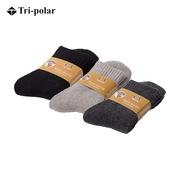 三极 TP6068 户外滑雪袜登山袜秋冬厚款运动袜跑步吸湿排汗男士中筒羊毛袜 三双装 随机色