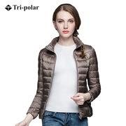三極 TP9062 女士超輕立領薄款羽絨服 M/160   駝色