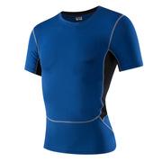 三极 TP8011 户外男士紧身运动健身跑步速干短袖衫T恤 L 蓝色
