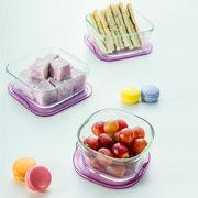 怡万家  日本玻璃碗便当盒?#36141;?#24494;波炉冰箱水果收纳保鲜盒套装 6件套 薄?#38485;?