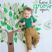 lulujo  棉宝宝月龄成长纪念抱毯婴儿包?#27426;?#21151;能包巾 野性童真 100*100