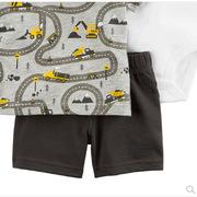 carter's  印花T恤 连体服3件套6-24个月 85cm 灰色