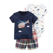 carter's  飞机T恤连体服3件套6-24个月 73cm 蓝色