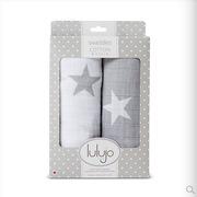 lulujo 新生儿muslin棉迷你襁褓包巾两条装 100*100 粉色