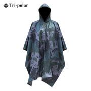 三极 TP1906 多功能成人户外加厚雨衣雨披大衣斗篷男 均码 美国花迷彩