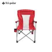 三极 TP8865 户外便携式加厚折叠导游钓鱼靠背椅  红色