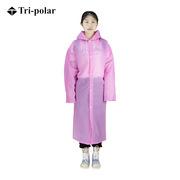 三极 TP1904 户外带袖防水雨旅游成人连体透明雨衣5件装 均码 粉色